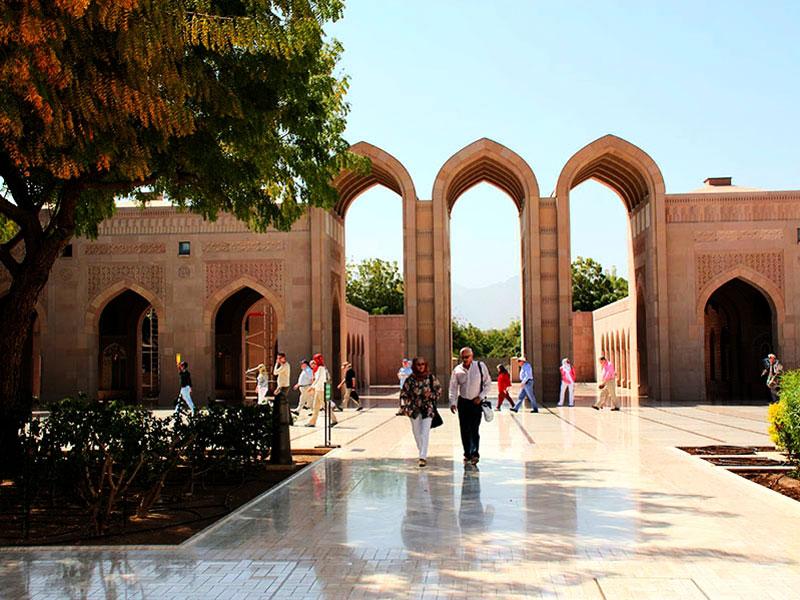 Outside the Sultan Qaboos Grand Mosque Oman