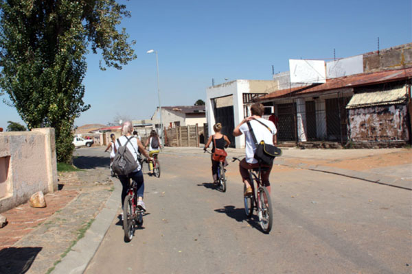 Enjoying the ride through the streets of Soweto